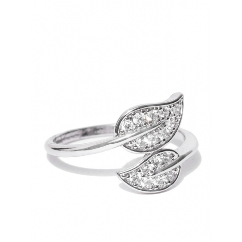 Accessorize Silver-Toned Platinum-Plated CZ-Studded Finger Ring