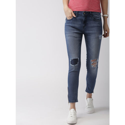 Mast & Harbour Women Blue Skinny Fit Mid-Rise Mildly Distressed Stretchable Cropped Jeans