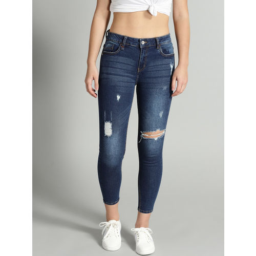 Roadster Fast and Furious Women Blue Skinny Fit Mid-Rise Low Distress Stretchable Jeans