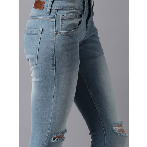 HERE&NOW Women Blue Ankle Length Skinny Fit Mid-Rise Slash Knee Stretchable Jeans