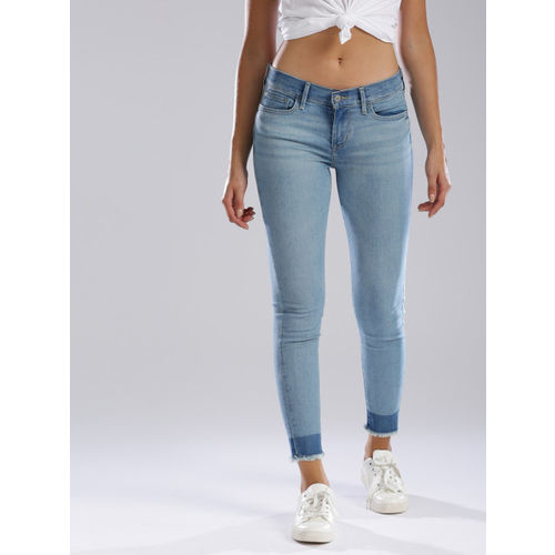 Levis Women Blue 519 Super Skinny Fit Mid-Rise Clean Look Stretchable Jeans