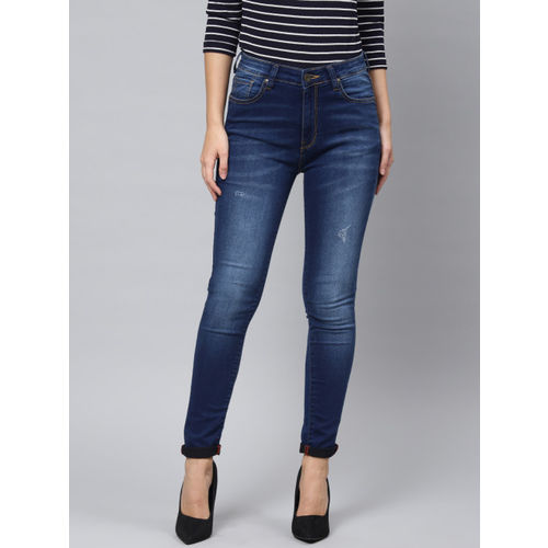 French Connection Women Blue Skinny Fit Mid-Rise Clean Look Stretchable Jeans