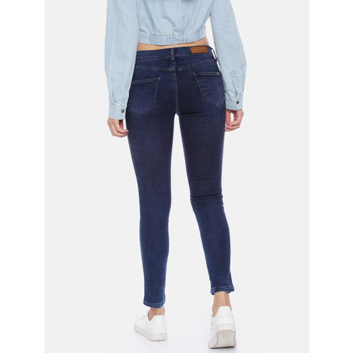Kraus Jeans Women Blue Skinny Fit Mid-Rise Clean Look Stretchable Cropped Jeans
