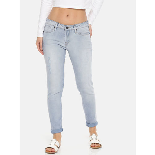 Pepe Jeans Women Blue Lola Slim Fit Mid-Rise Mildly Distressed Stretchable Jeans