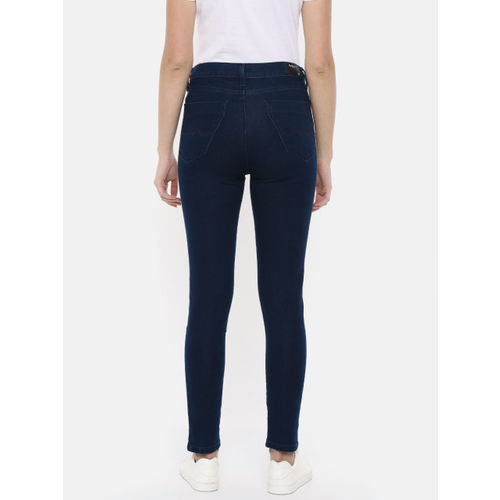 Pepe Jeans Women Blue Jegging Super Skinny Fit Mid-Rise Clean Look Stretchable Jeans