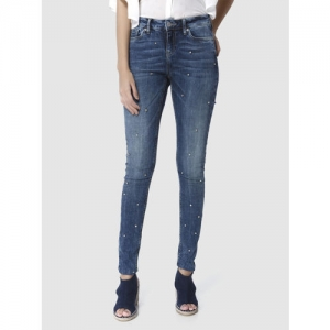 Vero Moda Women Blue Skinny Fit Mid-Rise Embellished Clean Look Stretchable Jeans
