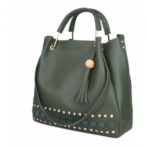 Rajni Fashion Green Synthetic Solid Shoulder Bag