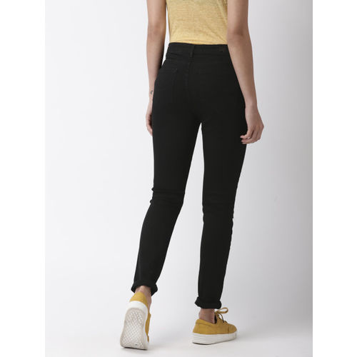 Superdry Women Black Skinny Fit Mid-Rise Slash Knee Stretchable Jeans