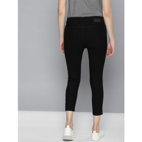 Kook N Keech Women Black Super Skinny Fit Mid-Rise Clean Look Stretchable Cropped Jeans
