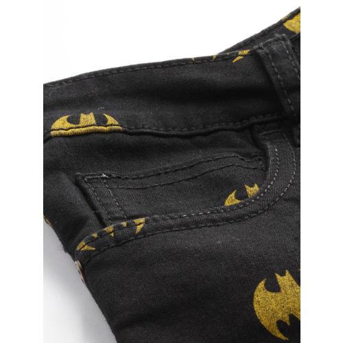 Justice League Women Black Printed Super Skinny Fit Slash Knee Cropped Batman Jeans