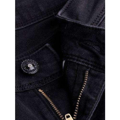 Jealous 21 Women Black Super Skinny Fit Mid-Rise Slash Knee Stretchable Jeans