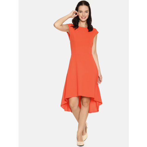 AARA Women Orange Solid Fit and Flare Dress