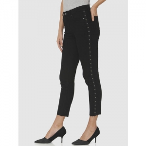 Vero Moda Women Black Slim Fit High-Rise Clean Look Stretchable Cropped Jeans