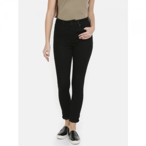 Pepe Jeans Women Black Dion Skinny Fit High-Rise Clean Look Stretchable Jeans