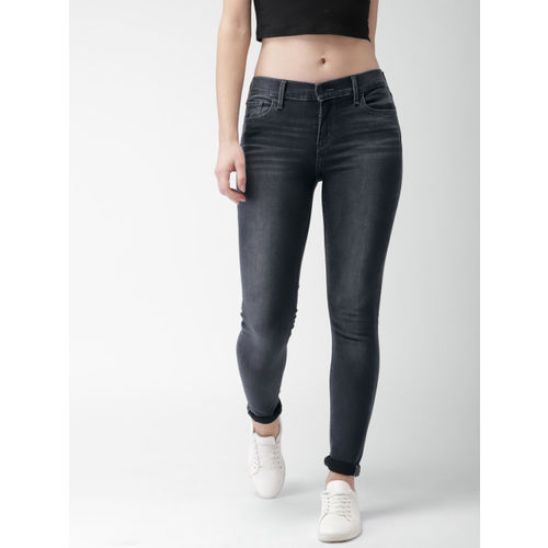 Levis Women Black 710 Super Skinny Fit Mid-Rise Clean Look Stretchable Jeans