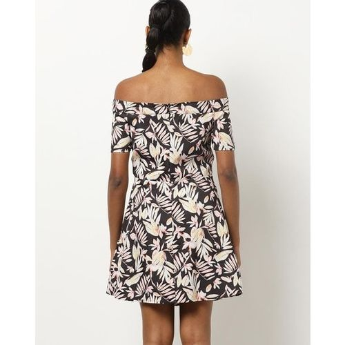 Kazo Printed Off-Shoulder Skater Dress