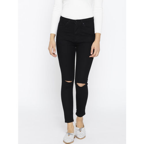 People Women Black Skinny Fit High-Rise Slash Knee Stretchable Cropped Jeans