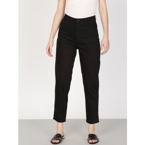 ether Women Black Mom Tapered Fit High-Rise Clean Look Cropped Stretchable Jeans