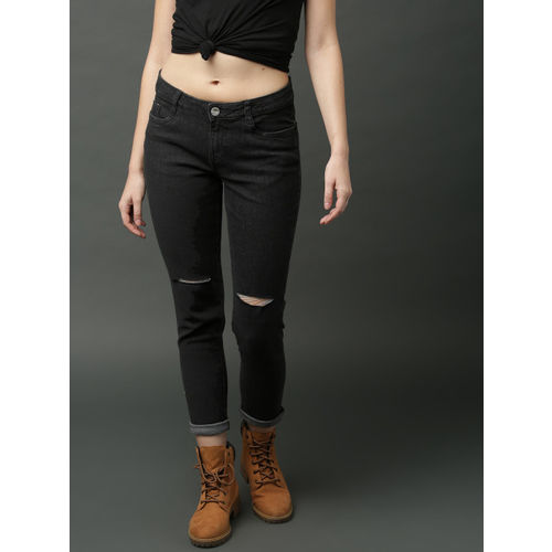 Roadster Women Black Skinny Fit Mid-Rise Slash Knee Stretchable Cropped Jeans