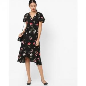 FEMELLA Black Botanical Print Wrap Dress