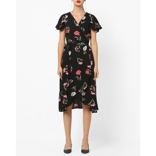 FEMELLA Black Botanical Print Wrap Dress