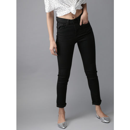 Moda Rapido Women Black Skinny Fit High-Rise Clean Look Stretchable Jeans