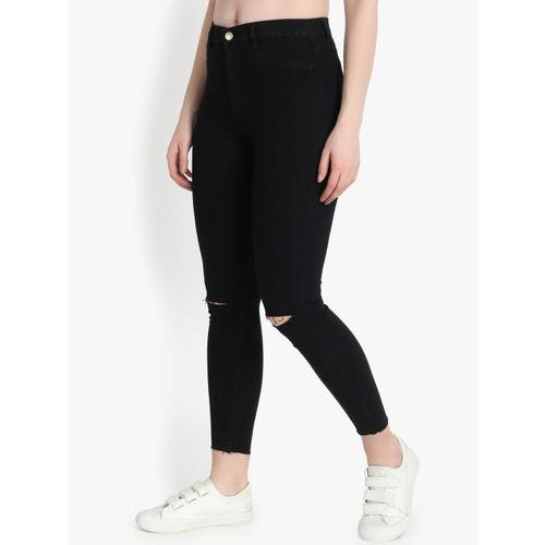 Kotty Women Black Skinny Fit High-Rise Slash Knee Jeans
