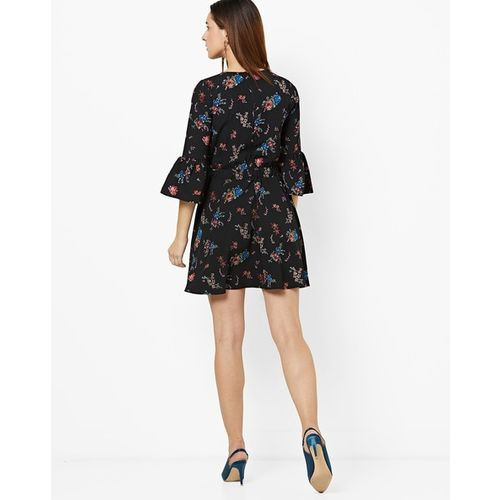 RIO Floral Print A-line Dress with Bell Sleeves