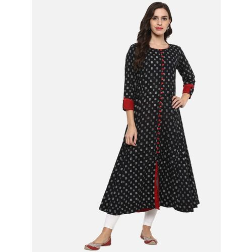 Yash Gallery Festive & Party Geometric Print Women Kurti(Black)