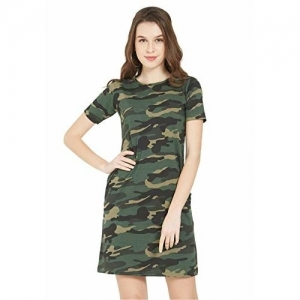 Wear Your Opinion Green Camouflage Printed Casual T-Shirt Dress