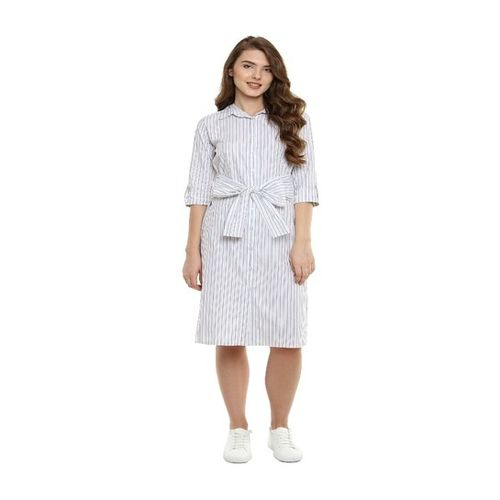 Miss Chase Grey Striped Midi Dress