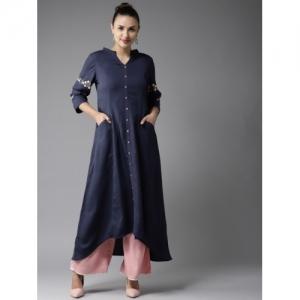 Moda Rapido Navy Blue Polyester Solid A-Line Kurta