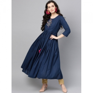 Varanga Women Navy Blue Solid Layered Anarkali Kurta