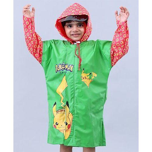 Babyhug Full Sleeves Hooded Raincoats Pokemon Pikachu - Green & Red