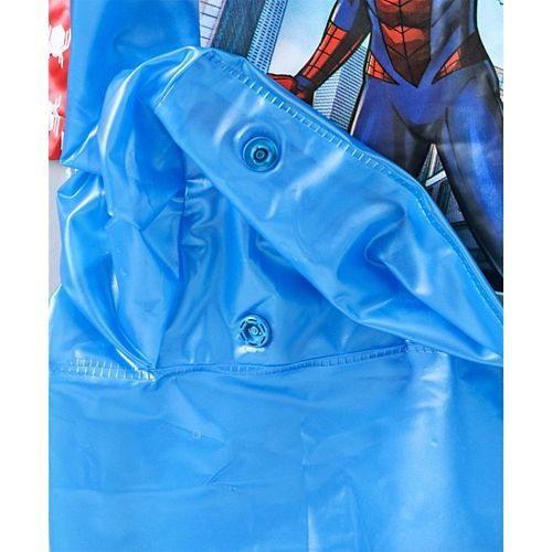 Babyhug Full Sleeves Hooded Raincoat Spiderman Print - Blue Red