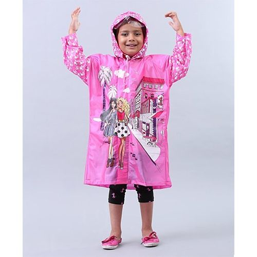 Babyhug Raincoat Barbie Print - Pink