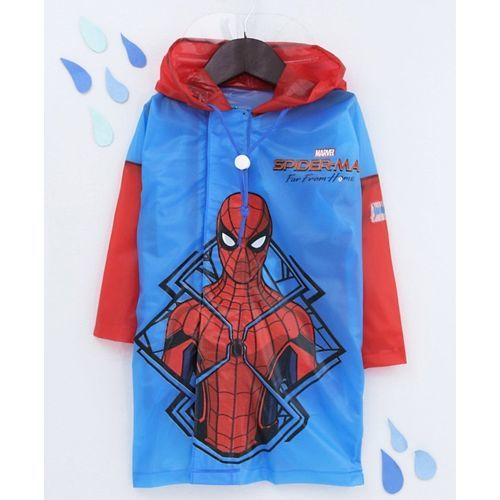 Babyhug Full Sleeves Hooded Raincoat Spider Man Print - Blue Red
