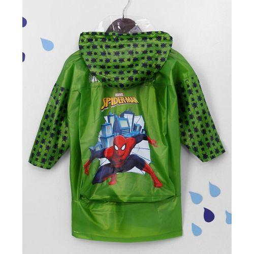 Babyhug Full Sleeves Hooded Raincoat Spider-Man Print - Green