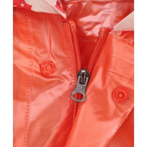 Babyhug Full Sleeves Hooded Raincoat With Pouch Mickey Print - Orange