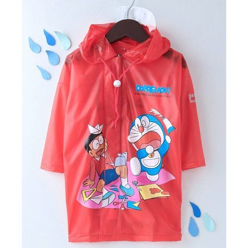 Babyhug Full Sleeves Hooded Raincoat With Pouch Doraemon Print - Red