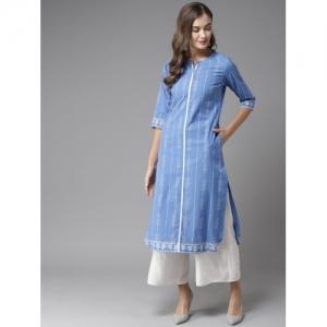 Moda Rapido Blue & White Cotton Printed Straight Kurta
