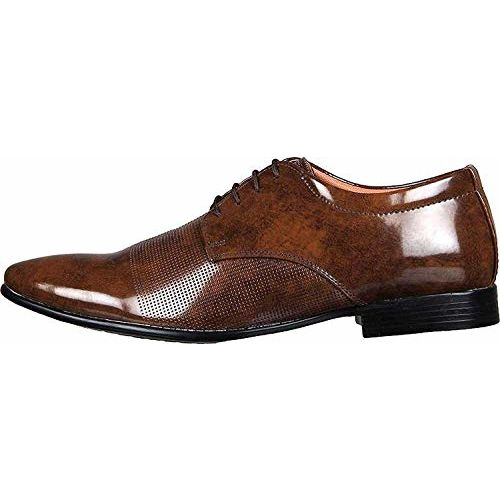 United Fashion Brown Patent Leather Lace Up Formal Shoes