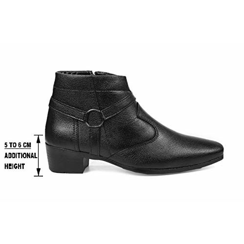 BXXY Men's Height Increasing White Color Strap and Buckle Boots