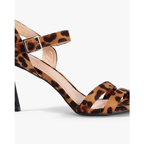 AJIO Animal Print Strappy Heeled Sandals