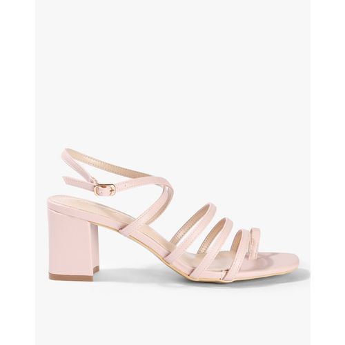 AJIO Strappy Chunky Heeled Sandals with Buckle Closure