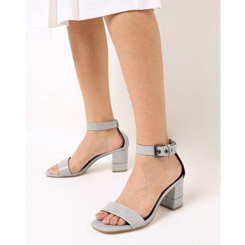 AJIO Chunky Heeled Sandals with Buckle Closure