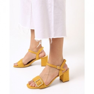 AJIO Chunky Heeled Sandals with Buckle Closure