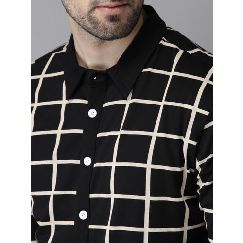 Campus Sutra Men Black & Off-White Standard Regular Fit Checked Casual Shirt