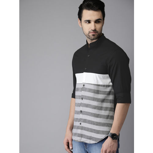 Campus Sutra Men Black & Grey Standard Regular Fit Striped Casual Shirt