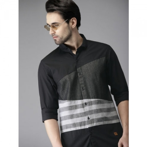 Campus Sutra Black & Grey Standard Striped Casual Shirt